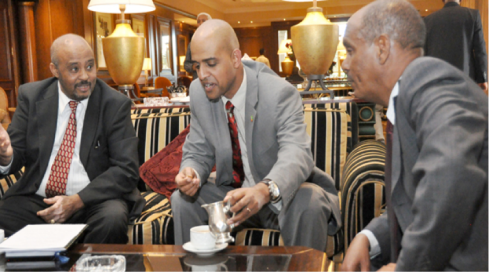 Berehane Gebreyohannes (right) , Tadesse Haile left and Wondiyirad MY (centre) discussing  EAIAA.