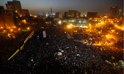 A general view is seen as protesters opposing Egyptian President Mohamed Morsi shout slogans at Tahrir Square in Cairo January 25, 2013 (Photo: Reuters)