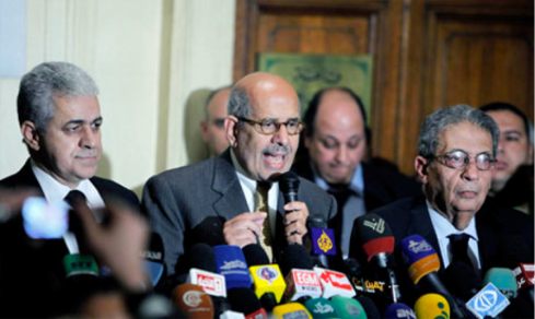 Egyptian reform leader Mohammed El Baradei, center, speaks during a press conference following the meeting of the National Salvation Front, as former Egyptian presidential candidate, Hamdeen Sabahi, left, and former Egyptian Foreign Minister and presidential candidate, Amr Moussa, right, listen in Cairo, Egypt, Monday, Jan. 28, 2013 (Photo: AP)