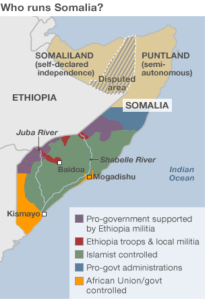 Who runs Somalia?(Courtesy of BBC)