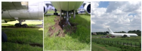 On the grass at Dar airport (Credit: Richard Bodin, via Wolfgang Thome's Blong)
