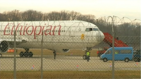 Safe & sound at Geneva airport- But the message of a plane being hijacked by its co-pilot is potent and the implications to the country's image troubling. png (Credit: ABC News)
