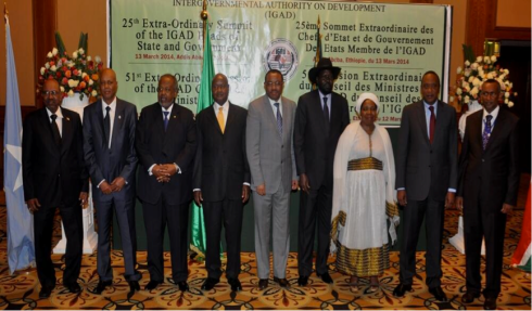 IGAD leaders during last week's  Addis Abeba summit, with the chairman barely finding room for the photo (Credit: MFA Ethiopia)