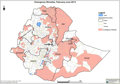Disaster Risk management and Food Security Sector Emergency Woreda,first half 2013 The delineation of national and international boundaries must not be considered authoritative Data (courtesy of DRMFSS)