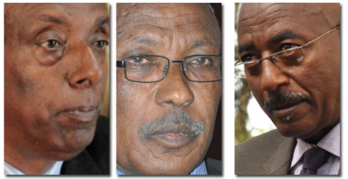 The men history would harshly judge as agents of counter-democracy in Ethiopia: Abebaw Mehari (left) Merga Bekana (Centre) and Tigistu Awelu (Credit: Addis Fortune)