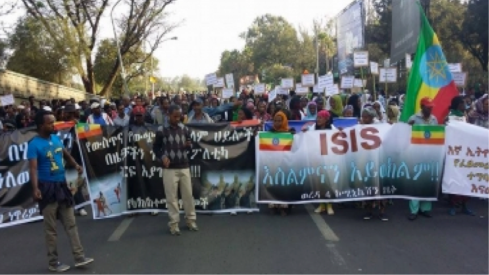 Addis Abeba residents  expressing their anger at the barbaric ISIS in Wednesday's TPLF-organized rally (Credit: Fana)