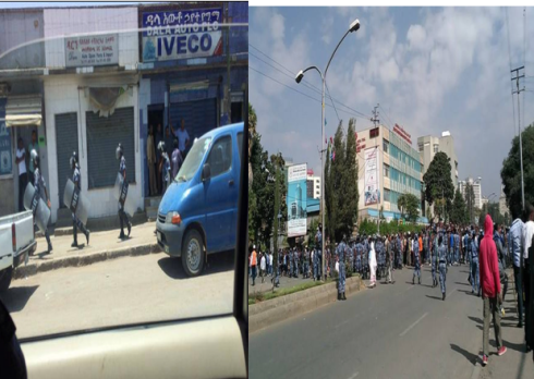 Police in right gears in every corner of the city and encircling Addis Abeba University (Credit: mereja.com)