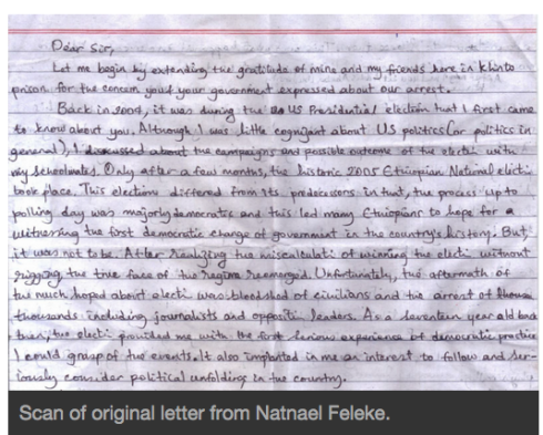 Scan of original letter from Natnael Feleke, as appears on GlobalVoices & Advocacy
