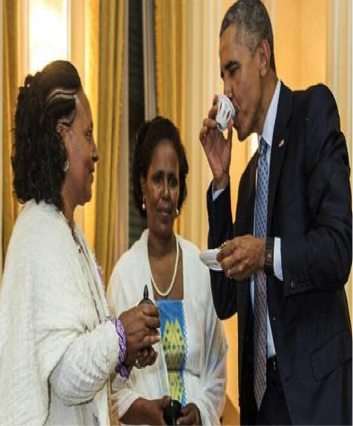 The president having Ethiopian coffee at the US embassy in Addis Abeba served in the traditional way strictly  by the ruling party's selects https://pbs.twimg.com/media/CLE_CbFWUAAz8I9.png