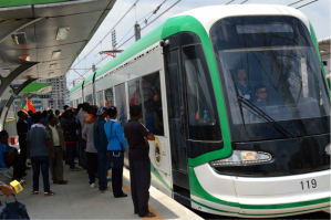The Addis Abeba tram near the the stadium. Each tram has 300  person capacity and 60,000 passengers a day. The two lines cover  total distance of 34km. (Photo credit William Davison)