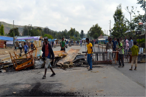 Protesters block the road in Wolenkomi, in the Oromia region of Ethiopia. All photographs by William Davison via The Guardian