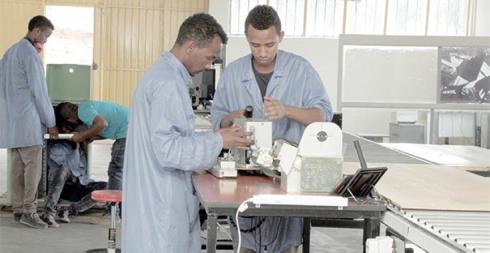 Mela's technicians assembling NCR brand ATM (Credit: Addis Fortune)