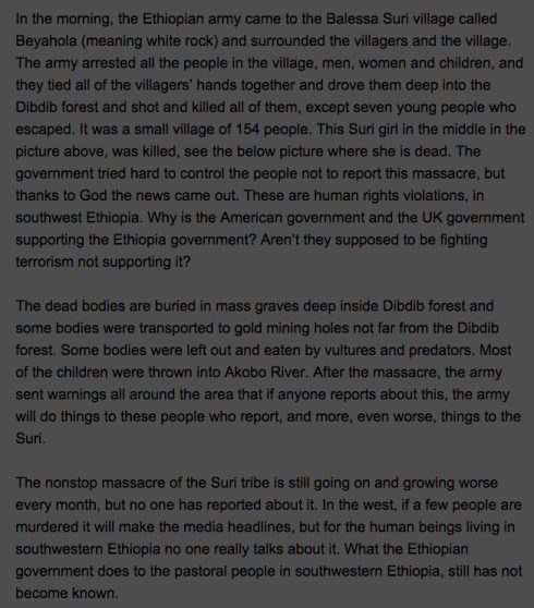 Suri Tribe Massacred by Ethiopian Government (CNN ireport)