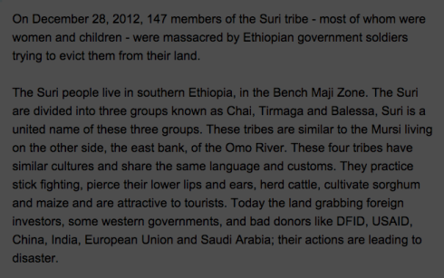 Suri Tribe Massacred by Ethiopian Government (Courtesy of CNN ireport)