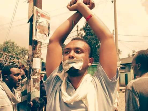 Yonatan Tesfaye protesting against injustice (Credit: Befekadu Z. Hailu)