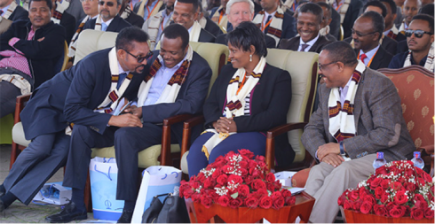 Ecstatic Arkebe  Oqubay evoking polite laughter from officials during the inauguration of the Hawassa Industrial Park last week (Credit: Addis Fortune)