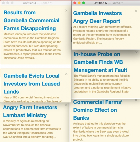 Debacle of TPLF's land grab and Tigrean-owned commercial farm disasters, as newspaper headlines (Addis Fortune articles titles)
